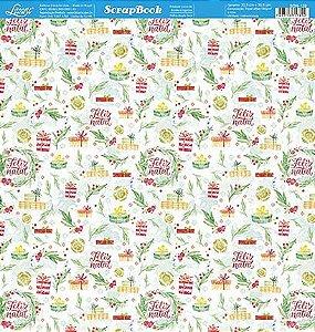 Papel Para Scrapbook Dupla Face 30,5 cm x 30,5 cm - SDN-129 - Scrap Duplo Natal - Caixas,Presentes, Feliz Natal