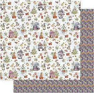 Papel Para Scrapbook Dupla Face 30,5 cm x 30,5 cm - SDN-127 - Scrap Duplo Natal - Padrão Corujas