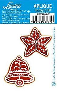 APMN4-021 - Aplique Em Papel E Mdf - Biscoito Estrela E Sino