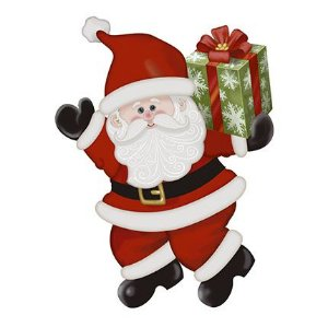 APMN8-133 - Aplique Em Mdf C/ Papel 8cm - Papai Noel Presente
