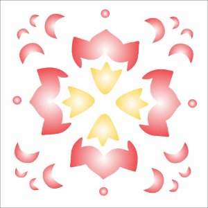 Stencil 10×10 Simples – Arabesco Tulipa II – OPA139