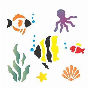 Stencil 14×14 Simples – Fundo do Mar – OPA 987