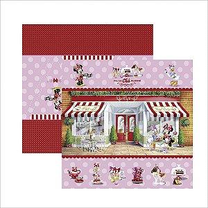 Folha para Scrapbook Dupla Face Disney Toke e Crie Hora do Chá com a Minnie 1 Cenário e Bandeirolas - 19708 - SDFD124