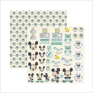 Folha para Scrapbook Dupla Face Disney Toke e Crie Baby Mickey 2 Recortes - 19355 - SDFD039