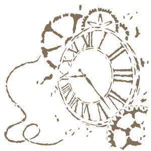 Stencil 30,5×30,5 Simples – Relógio III – OPA 2302