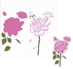 Stencil 30,5×30,5 Simples – Flor Rosas – OPA 2205