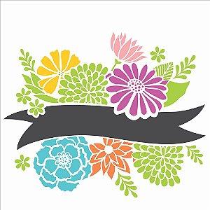 Stencil 30,5X30,5 Simples – Fita com Flores – OPA 2469