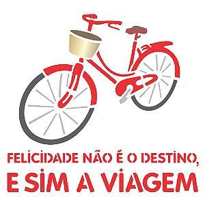Stencil 30,5×30,5 Simples – Bicicleta Felicidade – OPA 2292