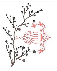 Stencil 20×25 Simples – Galhos e Pássaros – OPA 1411