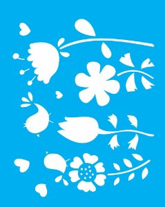 Stencil 20×25 Simples – Flor Passarinho – OPA 1406