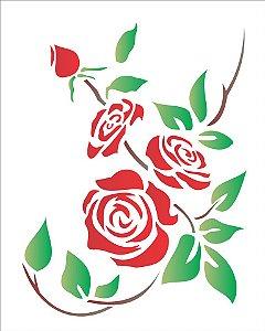 Stencil 20×25 Simples – Flores Rosas – OPA 1168
