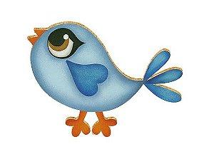 APM8-016 - Aplique Em Papel E MDF - Pássaro Azul