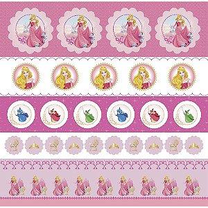 Folha para Scrapbook Dupla Face Disney Toke e Crie Aurora 1 Selos e Tags - 20716 - SDFD145
