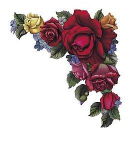 APM8-610 - Aplique Litoarte Em Papel E MDF - Rosas Vermelhas E Flores De Canto