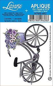 APM8-482 - Aplique Litoarte Em Papel E MDF - Bicicleta Com Cesto De FLORES
