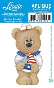 Apm8-823- Aplique Litoarte Em Papel E MDF - Urso Marinheiro Com Barco