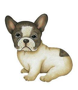 Apm8-654- Aplique Litoarte Em Papel E MDF - Cachorro Bull Dog Frances