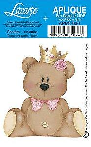 Apm8-630- Aplique Litoarte Em Papel E MDF - Ursa De Coroa-Rosa