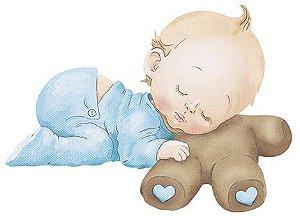 APM8-846 - Aplique Litoarte Em Papel E MDF - Bebê Menino Dormindo