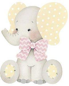 APM8-963 - Aplique Litoarte Em Papel E MDF - Elefante Bebê Menina Laço