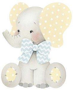 APM8-966 - Aplique Litoarte Em Papel E MDF - Elefante Bebê Menino