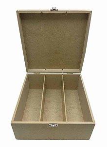 Caixa Mini Vinho 3 Divisórias Com Dobradiça e Fecho Metal