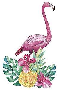 APM8-871 - Aplique Litoarte Em Papel E MDF - Flamingo Flores Tropicais
