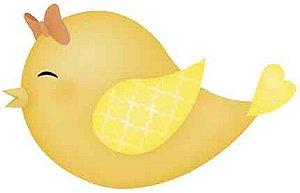 APM8-832 - Aplique Litoarte Em Papel E MDF - Passarinho Amarelo