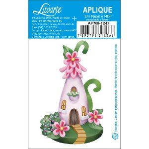 APM8-1247- Aplique Litoarte Em Papel E MDF - Casinha Rosa