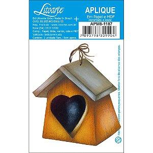 APM8-1187 - Aplique Litoarte Em Papel E MDF - Casinha De Passarinho Coração