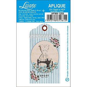 APM8-1255 - Aplique Litoarte Em Papel E MDF - Maquina Costura Tag