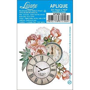 APM8-1249- Aplique Litoarte Em Papel E MDF - Flores Relógios