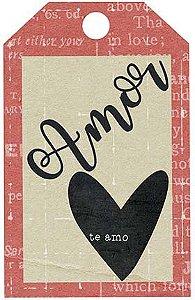 APM8-1218 - Aplique  Litoarte Em Papel E MDF - Amor Love Story Tag
