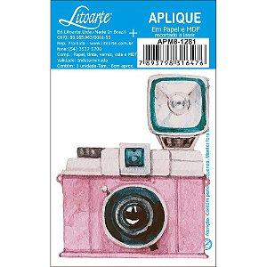 APM8-1281 - Aplique Litoarte Em Papel E MDF - Camêra Fotografica