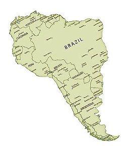 APM8-1058 - Aplique Litoarte Em Papel E MDF - Mapa Da América Do Sul
