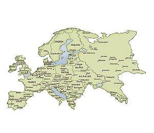 APM8-1060 - Aplique Litoarte Em Papel E MDF - Mapa Da Europa