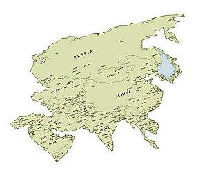 APM8-1061 - Aplique LitoarteEm Papel E MDF - Mapa Da Ásia