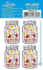 APM3-231 - Aplique Litoarte Em Papel E MDF -Potinho Corações E Biscoitos