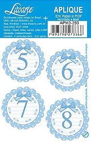 APM3-250 - Aplique Litoarte Em Papel E MDF - Números Azuis 5 Ao 8