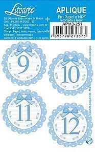 APM3-251 - Aplique Litoarte Em Papel E MDF - Números Azuis 9 Ao 12