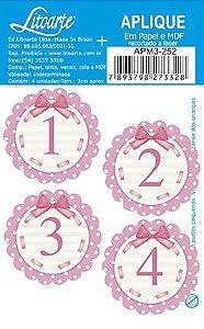 APM3-252 - Aplique Litoarte Em Papel E MDF - Números Rosa 1 Ao 4