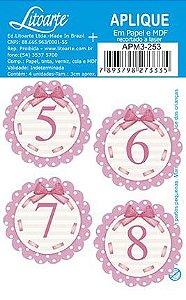 APM3-253 - Aplique Litoarte Em Papel E MDF - Números Rosa 5 Ao 8