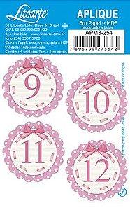 APM3-254 - Aplique Litoarte Em Papel E MDF - Números Rosa 9 Ao 12