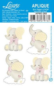APM3-260 - Aplique Litoarte Em Papel E MDF - Elefantes Bebês Menina