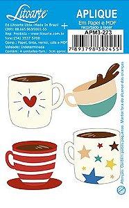 APM3-273 - Aplique Litoarte Em Papel E MDF - Xícaras De Café Coloridas
