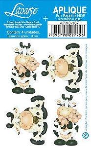 APM3-187 - Aplique Litoarte Em Papel E MDF - Vaca E Porquinho