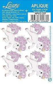 APM3-207 - Aplique Litoarte Em Papel E MDF - Unicórnio Rosinha
