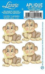 APM3-201 - Aplique Litoarte Em Papel E MDF - Macaco