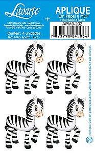 APM3-202 - Aplique LitoarteEm Papel E MDF - Zebra