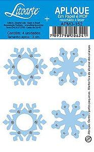 APM3-152 - Aplique Litoarte Em Papel E MDF - Flocos De Neve Azul